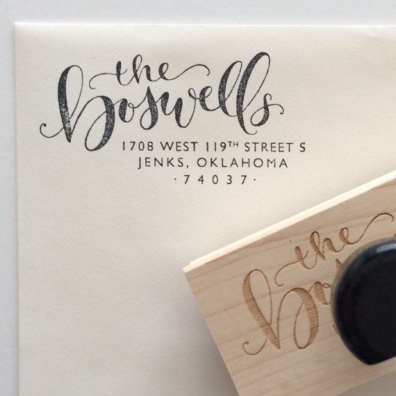 Custom calligraphy return address stamp by HoneybeeLetterShop
