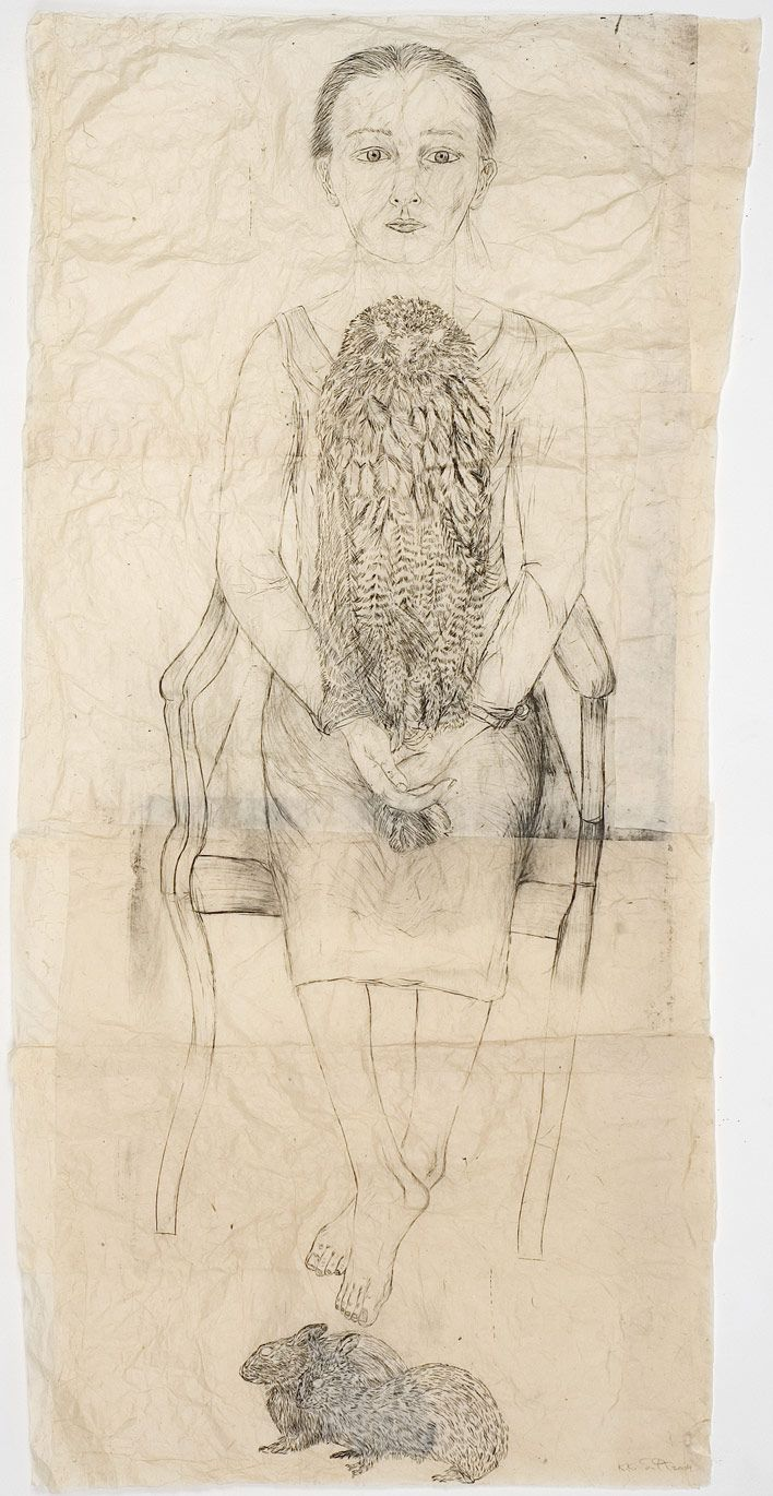 KIKI SMITH    Seated Girl with Owl and Rabbits  2004  Collage on Nepalese paper  164 x 81 cm