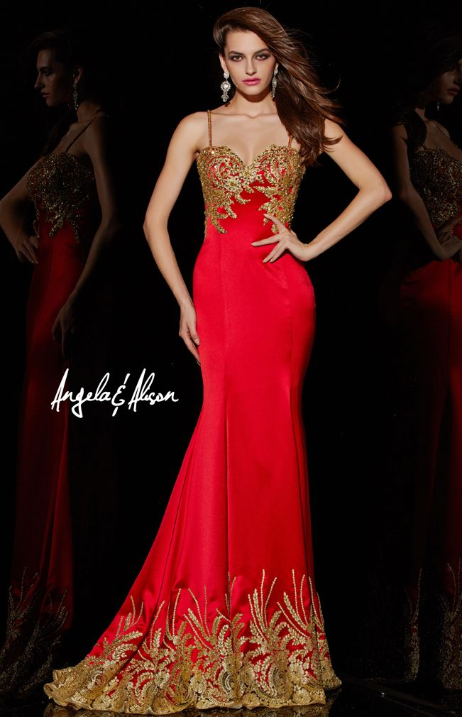 Style 51002 Spaghetti straps, gold lace details along top and bottom of satin gown. Prom, Pageant, Homecoming and Formal events