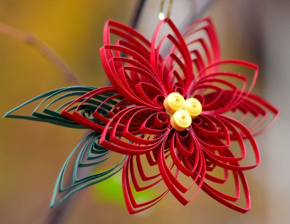 Handmade Poinsettia Flower Quilled Christmas ornament by TheQuillery Ellen Rogers , $10