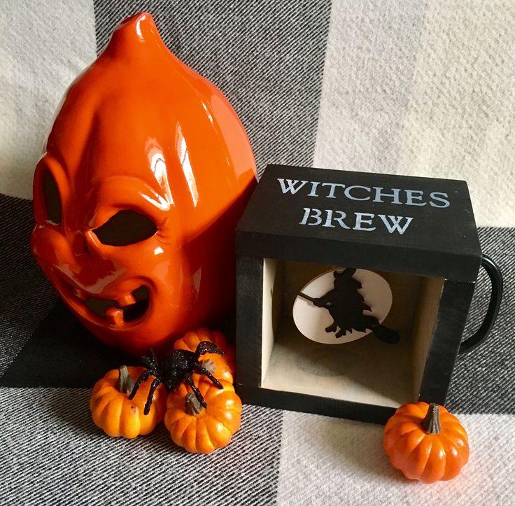 Halloween Decorations /Witches Brew Mug shadow box