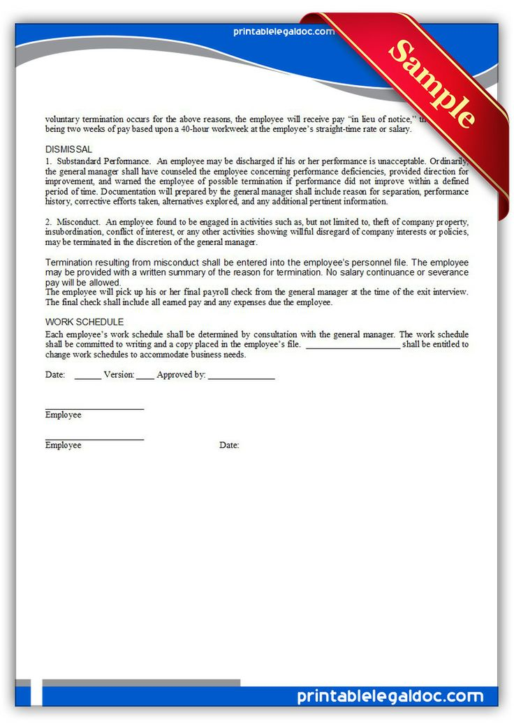 Free Printable Employment Manual  Employee Signature  Sample