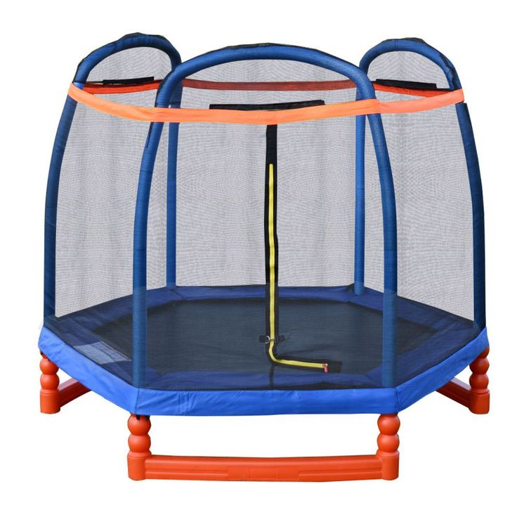 7FT Trampoline Combo w/ Safety Enclosure Net Indoor Outdoor Bouncer Jump Kids