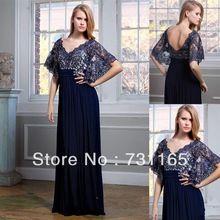 2014 gratis verzending hete verkoop elegante marineblauw v- hals half mouw gerolde chiffon een- lijn lange avondjurk formele jurk(China (Mainland))