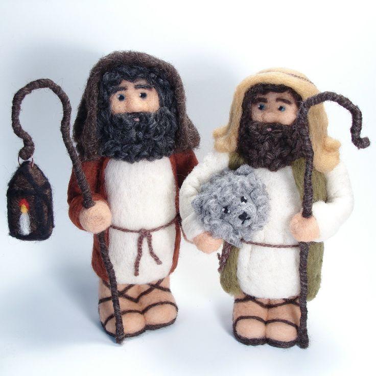 Needle Felted Shepherds - Needlefelted Shepherds for Nativity Soft Sculpture