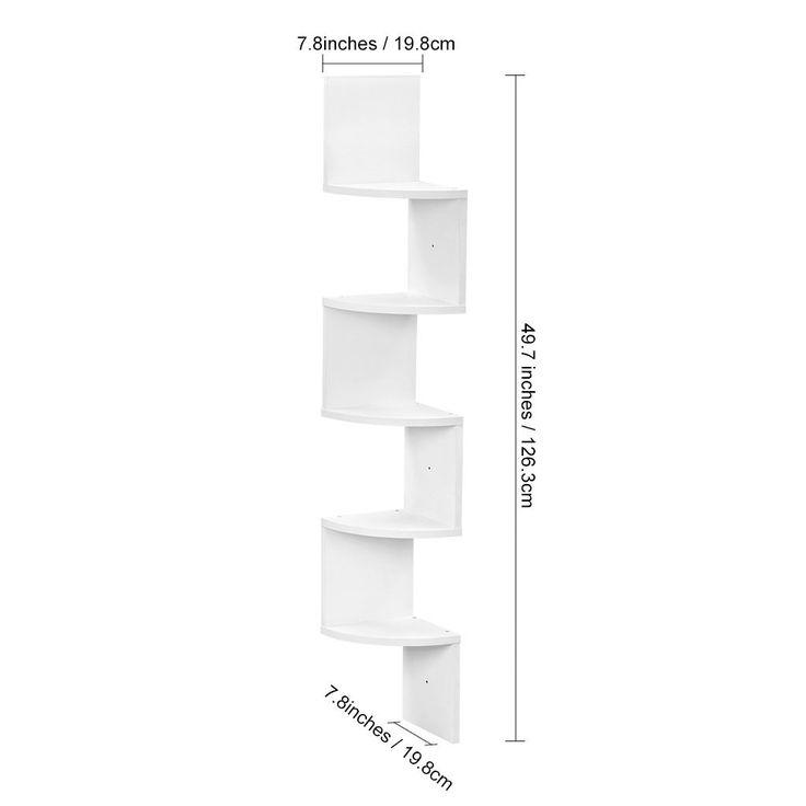 Finether-Estante de Pared Flotante con 5 zigzags, Estantería de almacenaje y Organizador, Blanco: Amazon.es: Hogar
