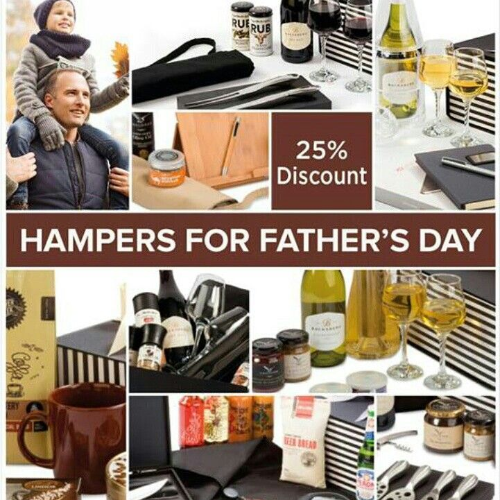 #Fathersday 25% discount on all hampers for him! (valid until 19 JUne 2015) Prices include taxes  Prices do not incl courier/postage Additiinal 5% Discount allowed for orders of more than 5 hampers See detailed prices and hamper contents at www,facebook.com/pretoriaparty