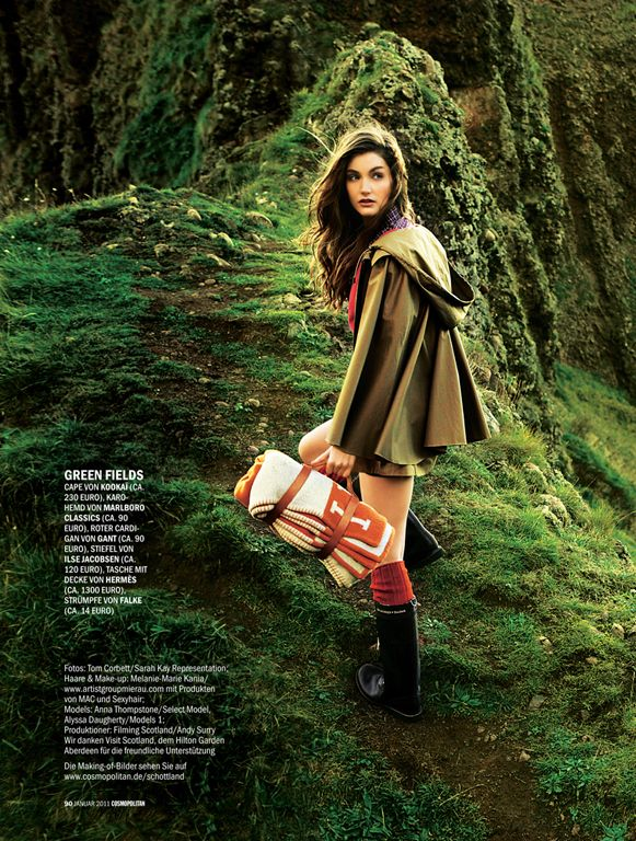 photographed on location in gorgeous Scotland by Tom Corbett featuring models Anna Thompstone and Alyssa Daugherty for Cosmo Deutschland Jan 2011.