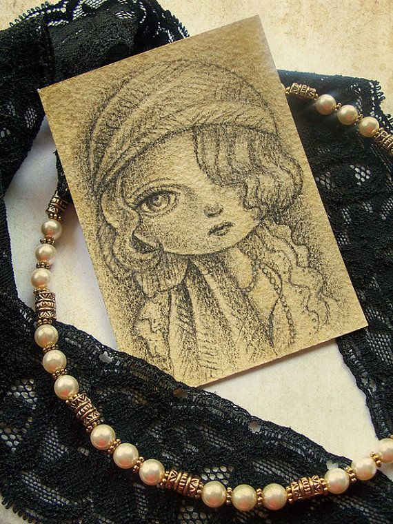 Original ACEO, Artist Trading Card, Pencil Drawing of 1920s inspired Ziegfeld Girl, Flapper Girl, Ruby on Etsy, $25.00