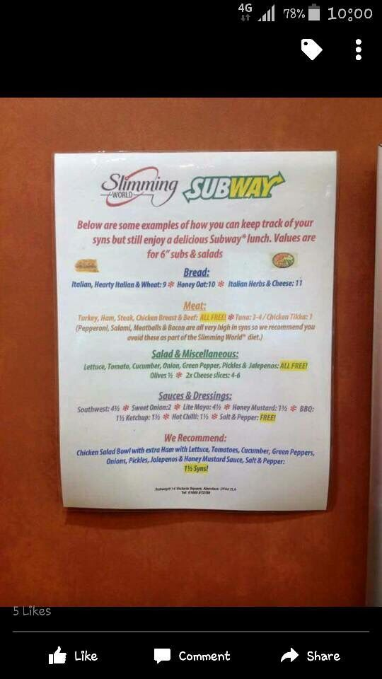 Emergency subway slimming world work lunch