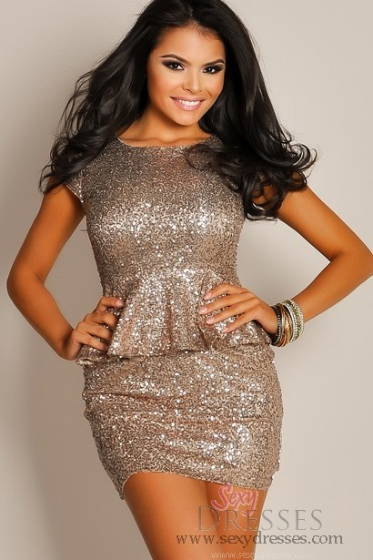 Sexy Ash Gold Sequin Peplum Dress