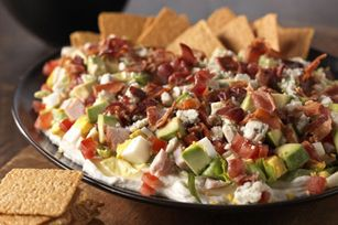 Cobb Salad DIP recipe: yum! Loaded w turkey, bacon, boiled eggs, avocado, tomatoes, blue cheese and more.