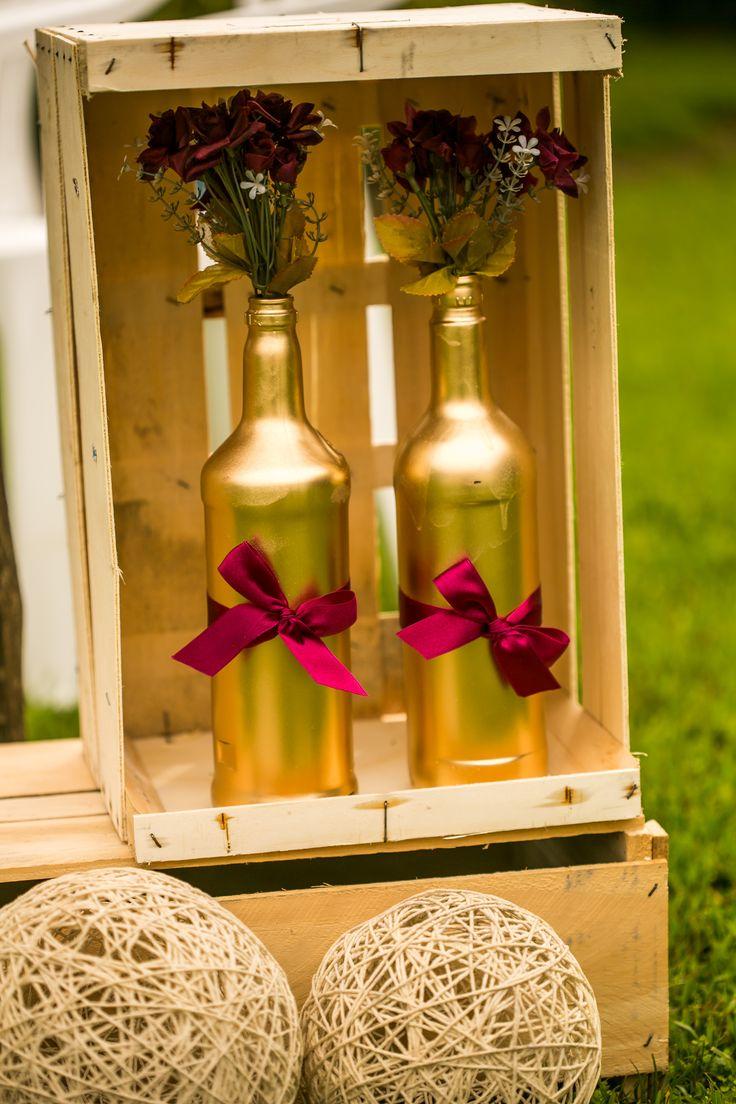 Decoração #wedding #diy #dourado #marsala #rústico