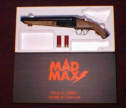 "The sawed-off shotgun used in the movies ""Mad Max"" and ""Road Warrior"" by Mel Gibson. Sawed off shotguns are devastating weapons because they have a very wide spray pattern over short distances. Few weapons are more effective at short distances. However, the drawbacks are that they only have 2 rounds and the kick when firing can be extreme and very, very painful. Sawed off shotguns are usually illegal in most of America because of their lethality."