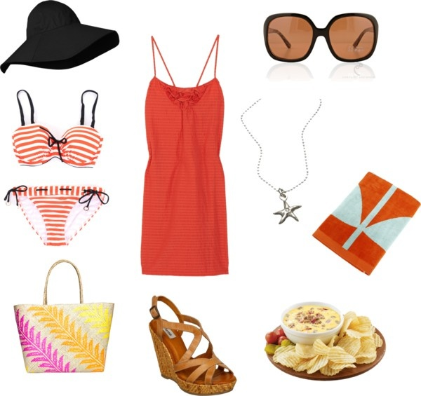 """""""Orange Pool Party Outfit"""" by marissa-anne-weddle on Polyvore"""