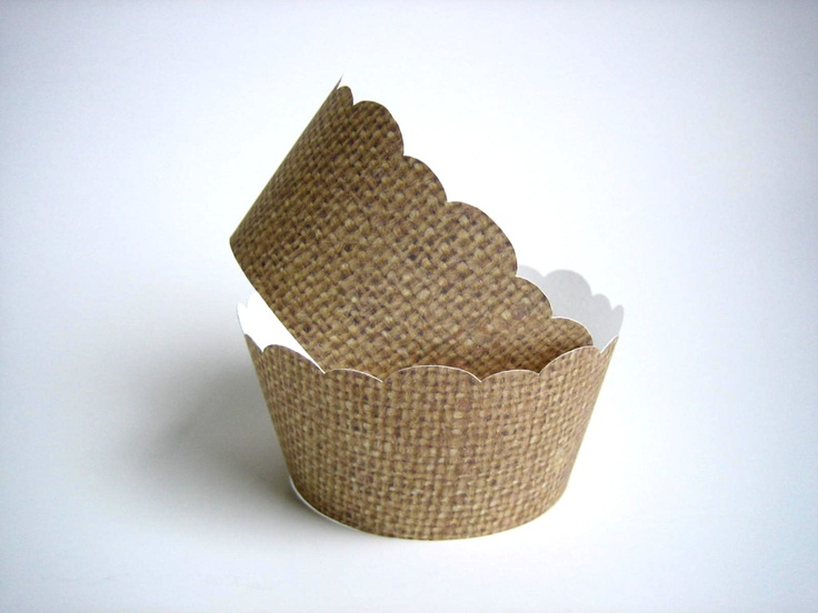 Rustic Cupcake Wrappers. Burlap and Lace Cupcake Wrappers, Rustic ...