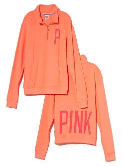 Half Zip Boyfriend Pullover - PINK - Victoria's Secret