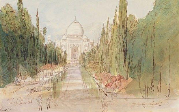 Edward Lear's watercolour of the Taj Mahal