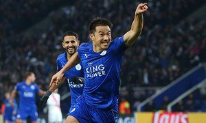 Shinji Okazaki celebrates after putting Leicester ahead in their fourth win of this Champions League campaign.