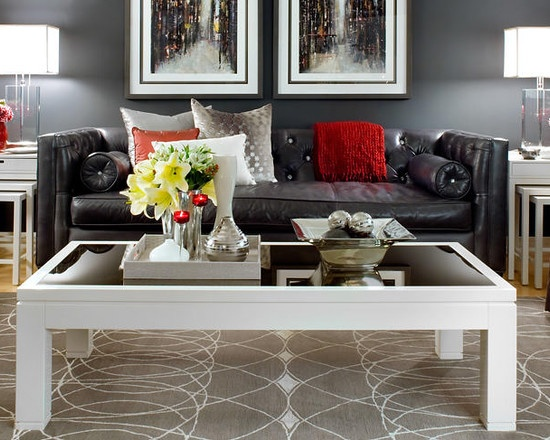 Black Couch, White Furniture, Red Accent