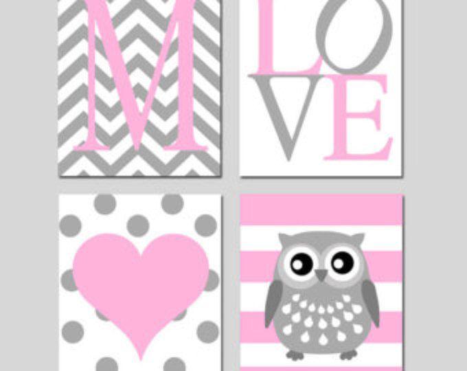 Baby Girl Nursery Art Quad - Chevron Initial, LOVE, Polka Dot Heart, Striped Owl - Set of Four 8x10 Prints - Choose Your Colors