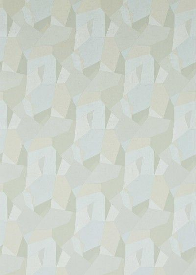 Prism Glass (311786) - Zoffany Wallpapers - A contemporary geometric design in a soft blue, green, grey colourway. Available in other colours. Please request a sample for true colour and texture match. Wide width. Pattern repeat 64cm.