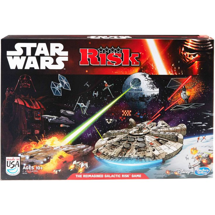 The Risk: Star Wars Edition game lets players recreate the dramatic final moments of Star Wars: Return of the Jedi. Across a TIE fighter-shaped gameboard, players can determine the fate of the Star Wars universe through three concurrent, yet distinct, battles. The three battles going on simultaneously are: the attack on the Death Star, the shield assault and the battle between Luke Skywalker and Darth Vader. Opponents choose to play as the light  *** Learn more by visiting the image link.