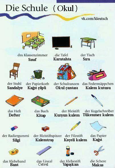 Okul ile ilgili Almanca kelimeler