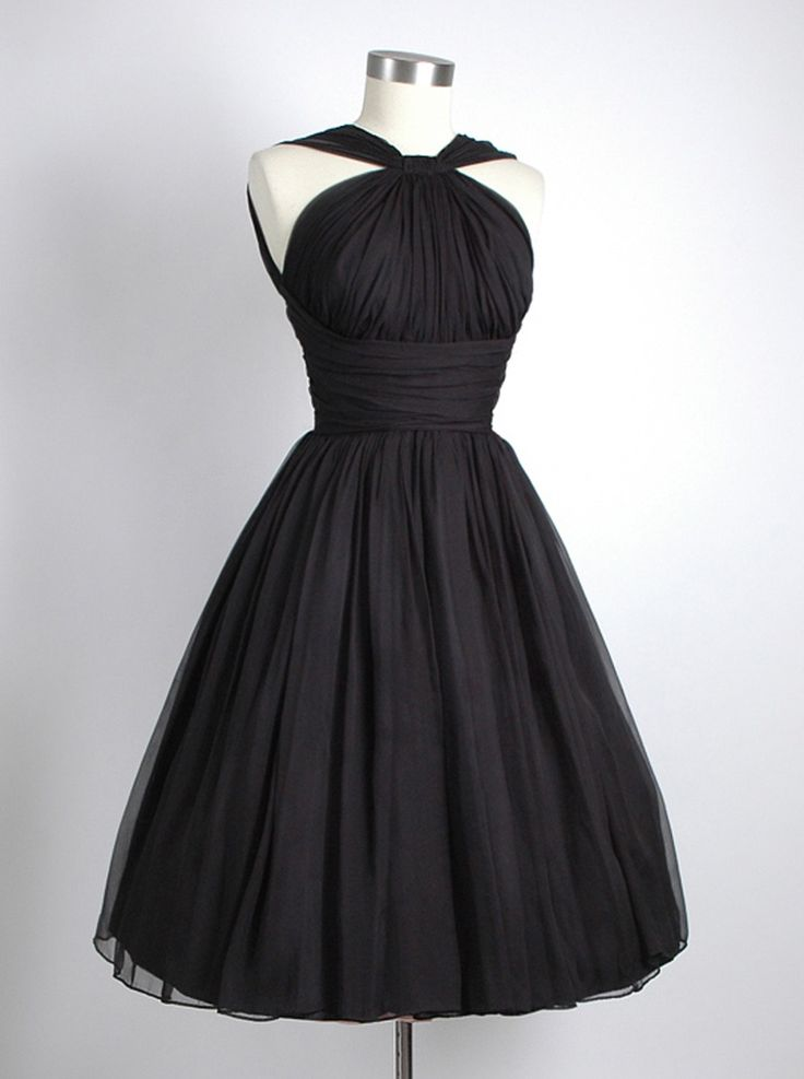 Vintage A-line Straps Knee-Length Chiffon Sash Backless Black Party Homecoming Dress
