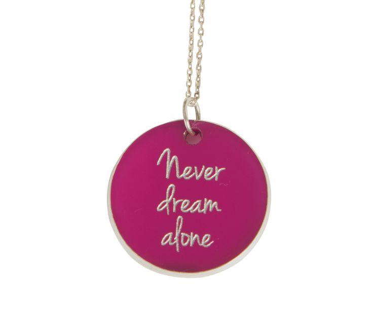 ''Never dream alone  '' Silver chain and plexiglass necklace