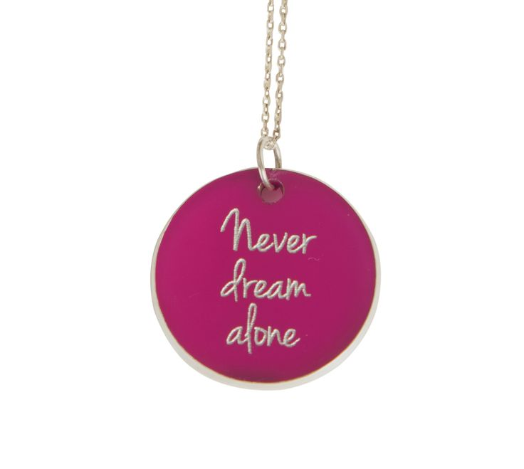''Never dream alone  '' Silver chain and plexiglass necklace