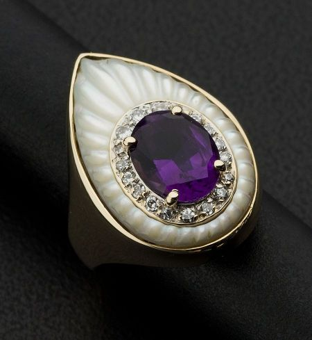 Art Deco Estate 14kt Yellow Gold, Amethyst, Mother-of-Pearl, Amethyst & Diamond Ring, by Erte.