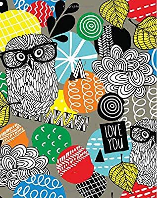 Love You: Cute Hipster Owls with Glasses Notebook 8''x10