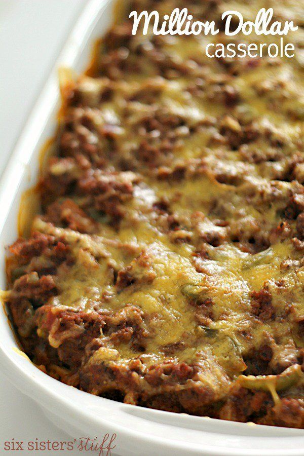 Million Dollar Spaghetti Casserole - comforting casserole with ground beef, pasta sauce, spaghetti, and 3 different cheeses.