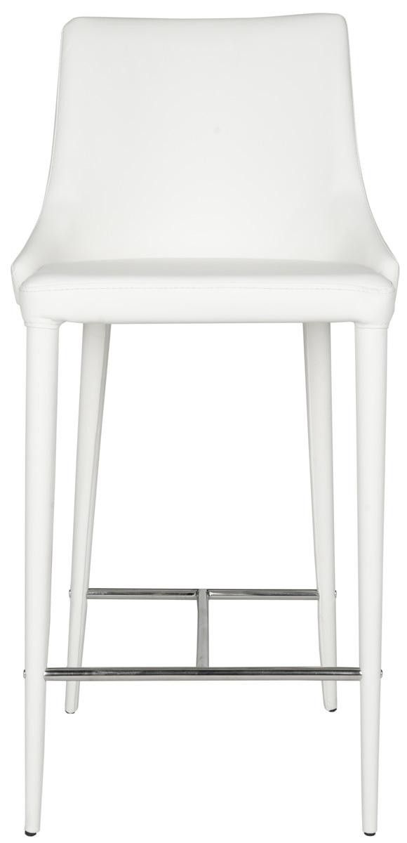 Set of Two Sleek Modern White Leather Kitchen Counter Stools - ON BACKORDER