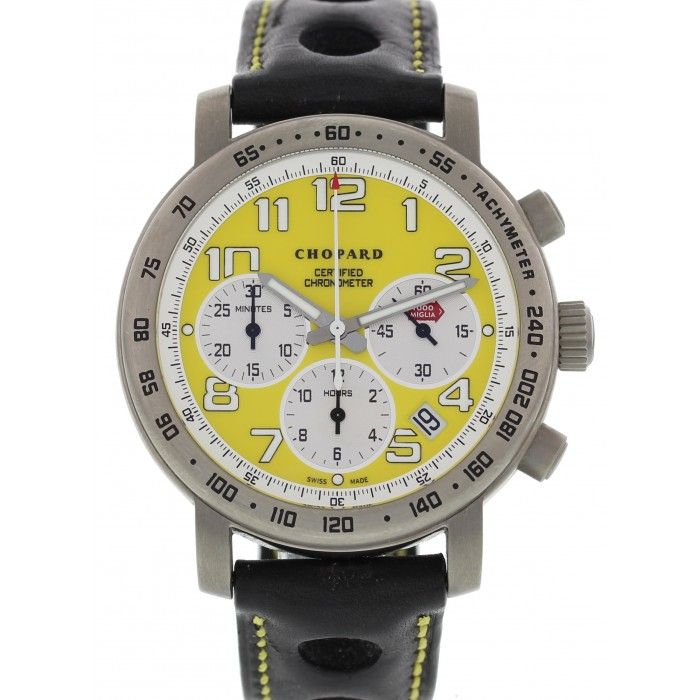 Limited Edition Chopard Mill Miglia Speed watch. Yellow chronograph dial with date display. Titanium 40 mm case with a skeleton case back. Automatic movement.