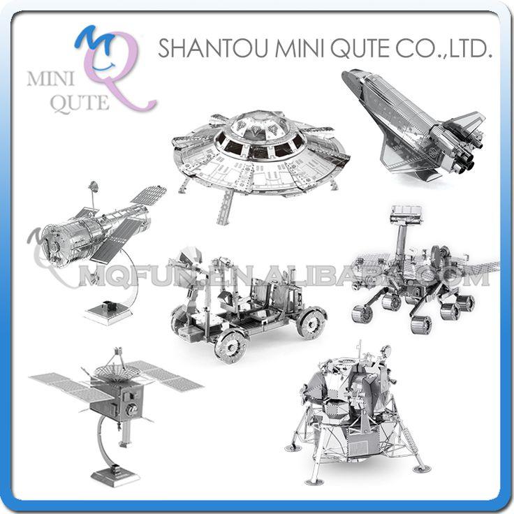 Mini qute kawałek zabawa 3d przestrzeni kosmicznej mars apollo księżycowy moduł lander satellite hubble teleskop ufo metalu puzzle zabawki edukacyjne