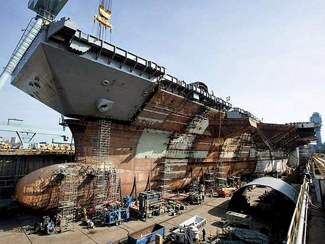 The USS Gerald R. Ford under construction