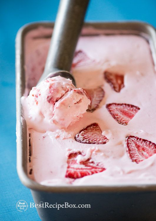Amazing Fresh Strawberry Ice Cream Recipe without an Ice Cream Maker. No Churn, just 3 Ingredients @bestrecipebox