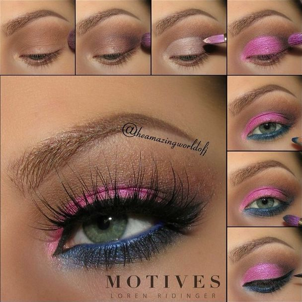 Apply the Eye Base all over the lid ~Use Cappuccino as transition shade & highlight the brow bone & the inner corner of the eye with Liquid ~Darken the outer v of your eye with Vino ~Apply some of the Eye Base onto the lid & carefully apply the Paint Pot in If You Dare onto the base ~Use the Khol Eyeliner in Regal Blue on the waterline & apply the Pressed shadow in Midnight along the lower lash line ~Apply mascara & add lashes if you wish http://bit.ly/mtvsca