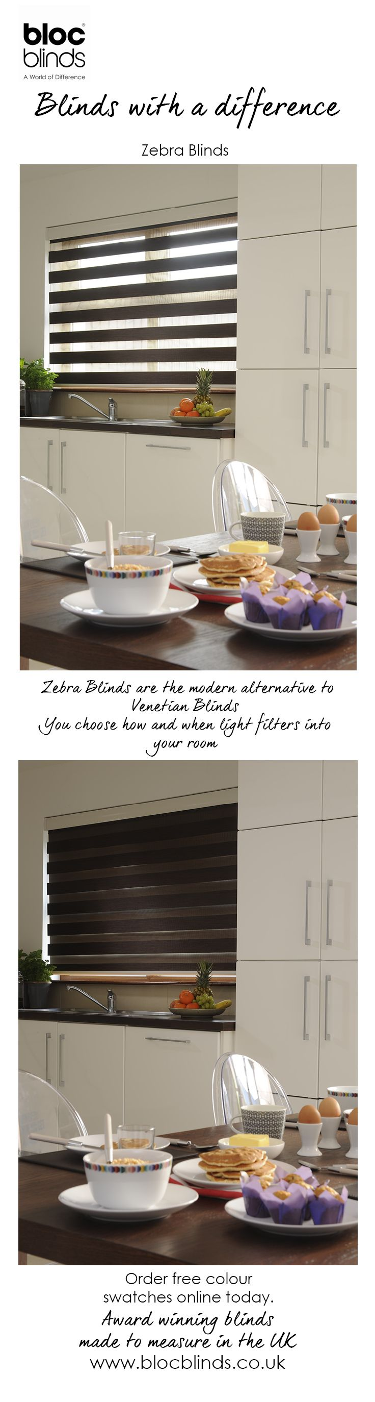 Day and Night Blinds, Vision Blinds or Zebra Blinds...they're  all the same. You get to control how and when daylight enters the room.  Bloc Blinds Zebra Blinds come in a wide range of colours. Order free swatches online.