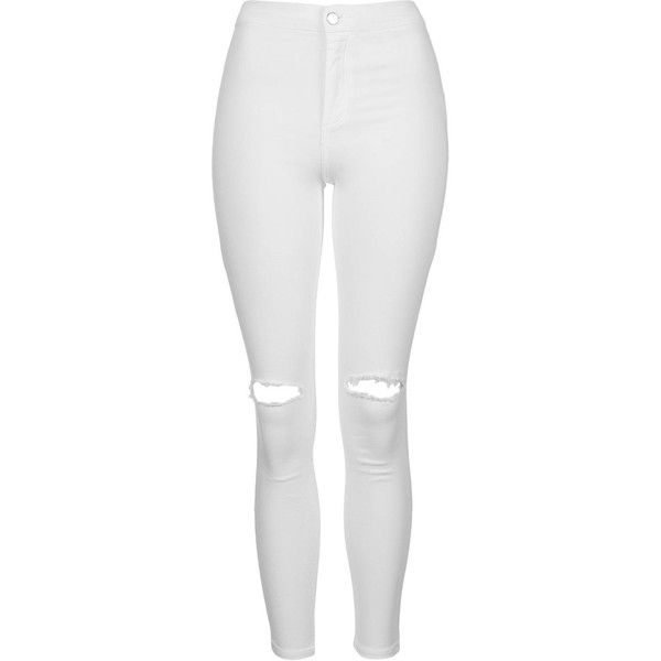 TopShop Petite White Rip Joni Jeans (795 ZAR) ❤ liked on Polyvore featuring jeans, pants, white, super skinny jeans, destroyed skinny jeans, white high-waisted jeans, distressed skinny jeans and destructed skinny jeans