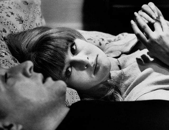 "Julie Christie, dubbed ""anti-goddess,""beside costar Oskar Werner in a scene fromFahrenheit 451."