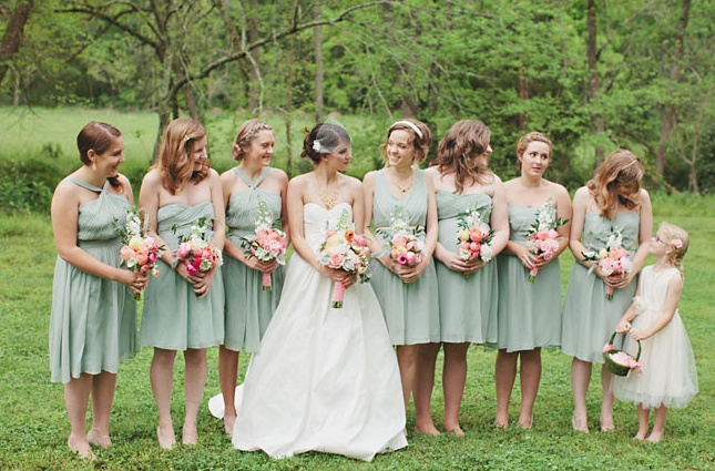 j crew dusty shale bridesmaids with pink flowers