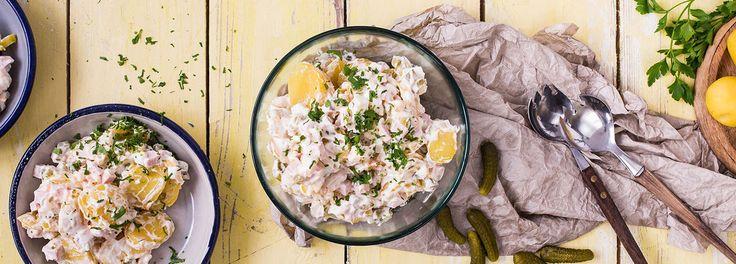 Klassischer Kartoffelsalat mit Mayonnaise und Gurke   REWE Rezept