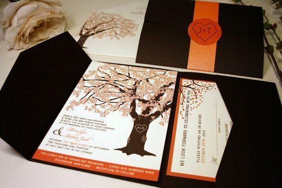 SAMPLE of Fall Oak Tree Pocketfold Wedding Invitations, Rustic and Modern on Etsy, $1.73 CAD
