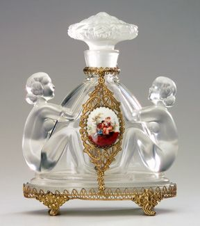 Czech Perfume bottle in clear and frosted crystal with jeweled metalwork, 1920s.