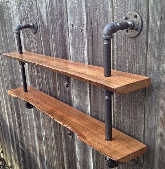 Living Edge Double Bookshelf Reclaimed Wood by iReclaimed on Etsy