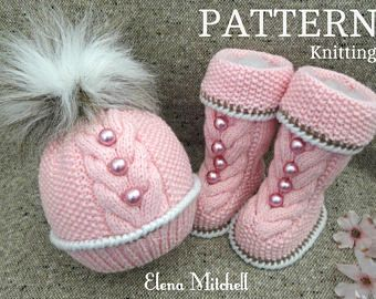 Baby Knitting PATTERN Knitted Baby Set Baby Beanie Baby Shoes Knitted Baby Hat Pattern Baby Booties Baby Boy Baby Girl Pattern ( PDF file )