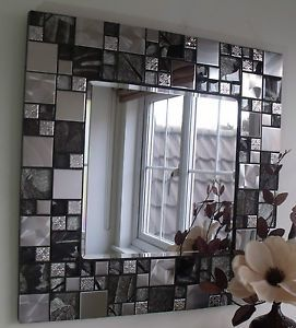 silver glass tile | ... HANDMADE METALLIC BLACK & SILVER GLASS & CHROME TILE MOSAIC MIRROR